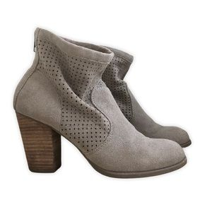 American Eagle Perforated Suede Heeled Ankle Boots